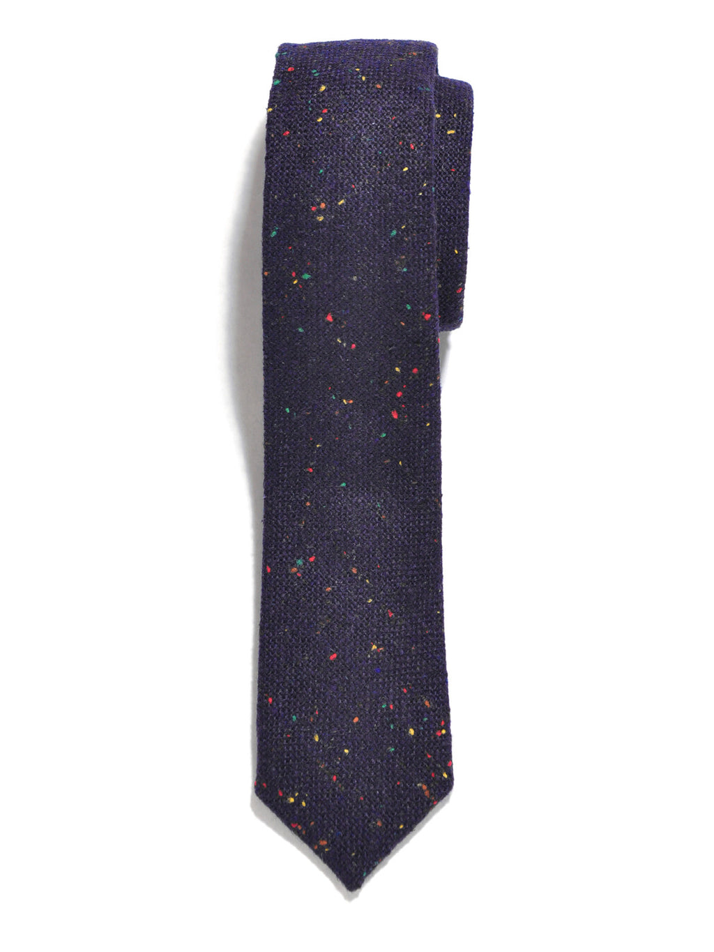 Navy Blue Rainbow Tweed Wool Tie