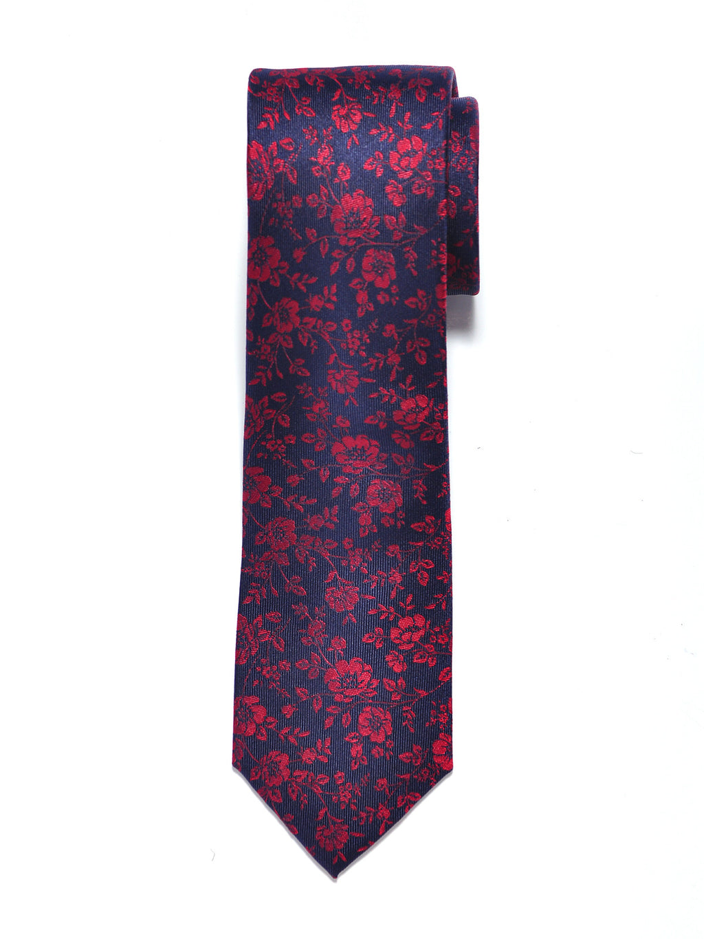 Navy Blue and Red Floral Silk Tie