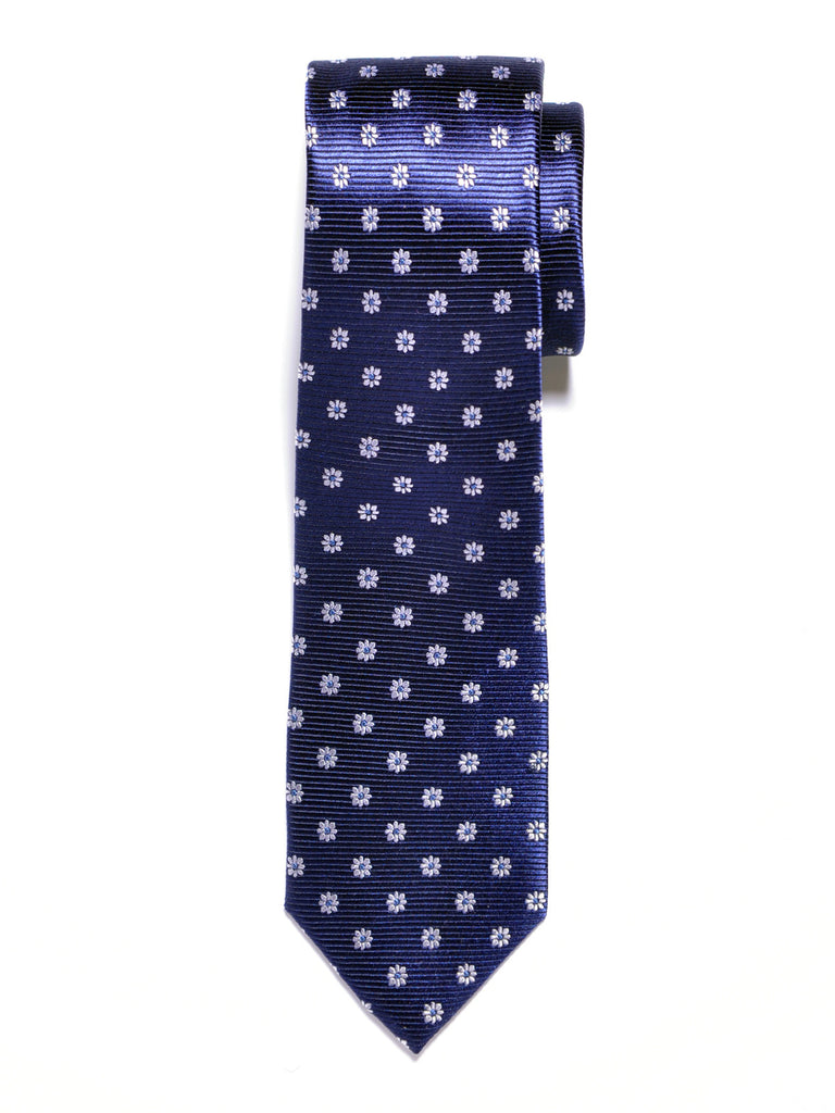 Navy Blue and White Flowers Silk Tie