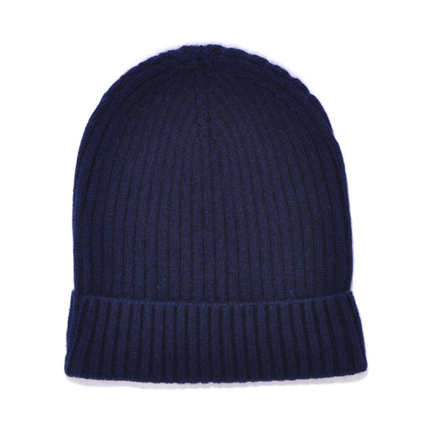 Navy Blue Wool Cashmere Beanie