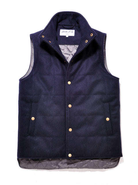Navy Blue Wool Bodywarmer Vest