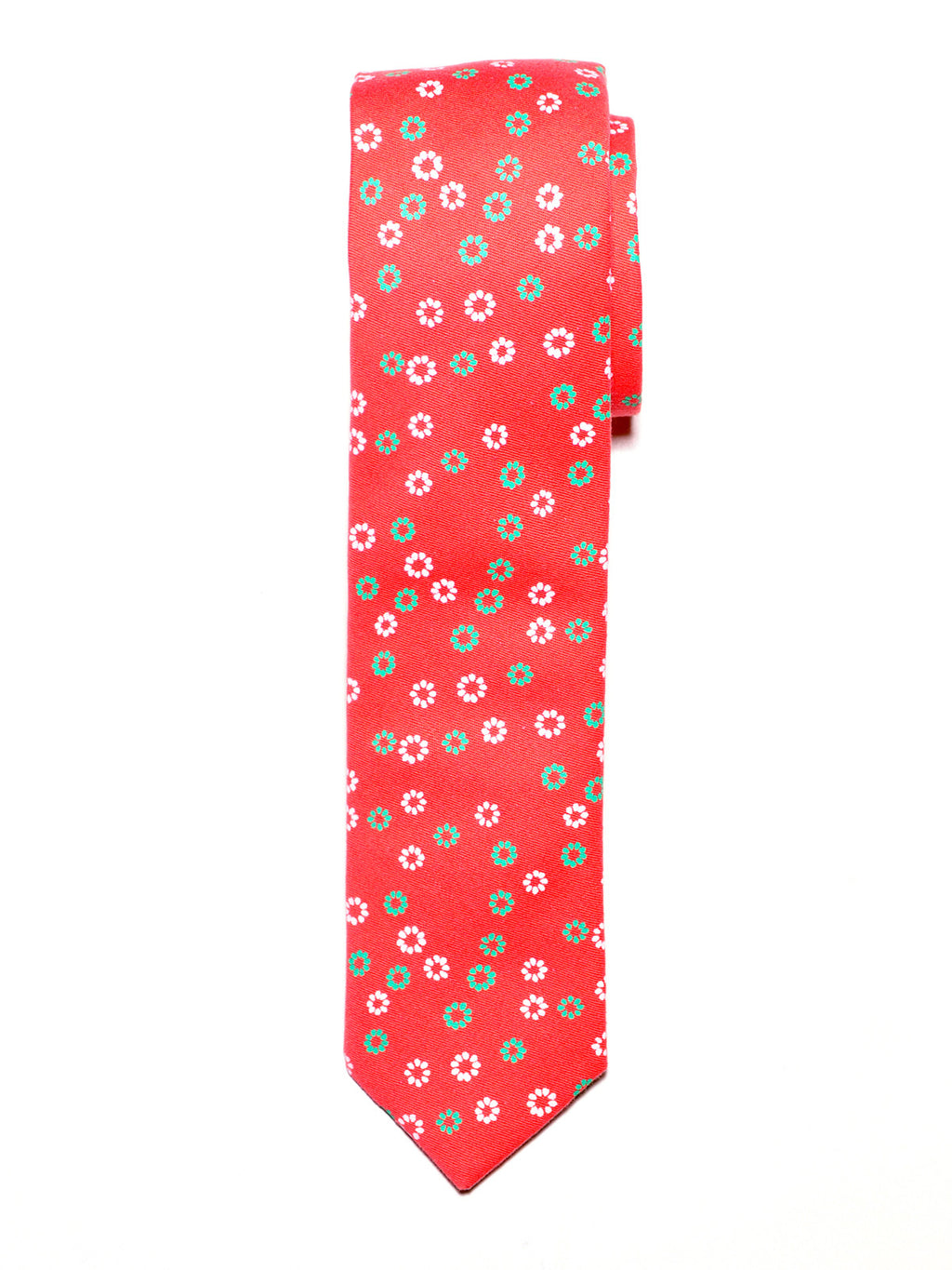 Orange Floral Cotton Tie