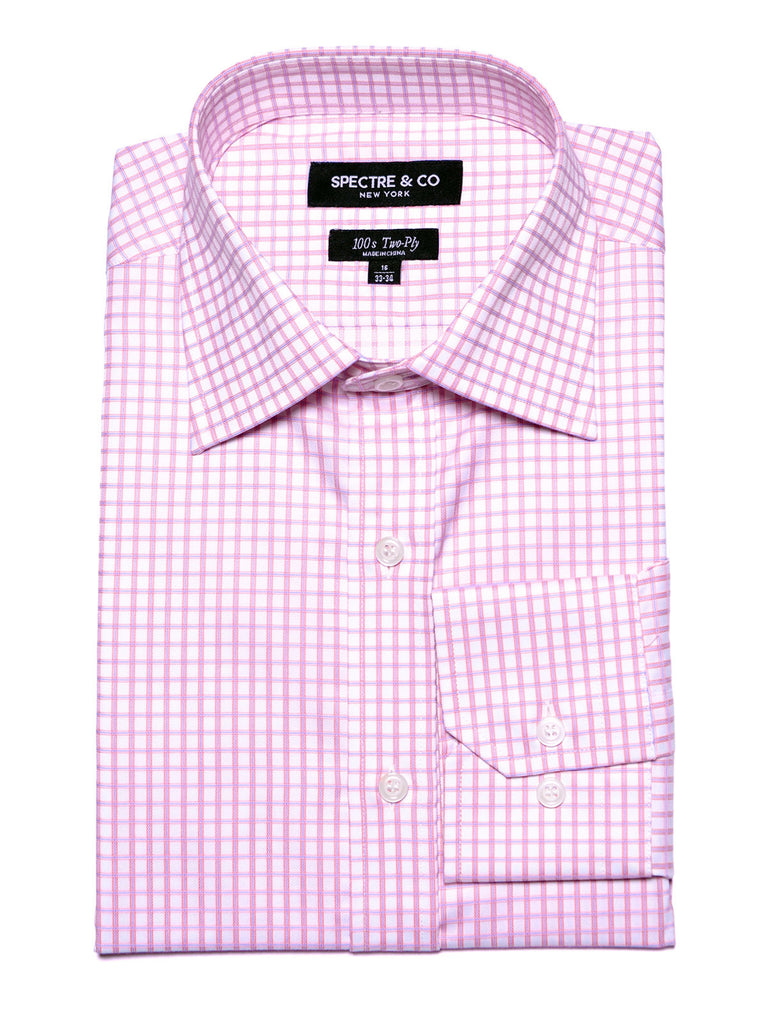 Slim Fit Pink Box Check Dress Shirt