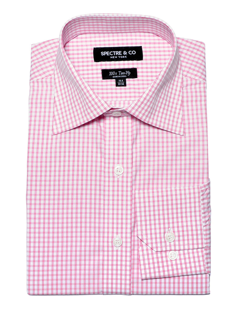 Slim Fit Pink Graph Check Dress Shirt