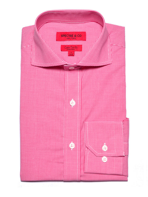 Slim Fit Pink Micro-Gingham Dress Shirt