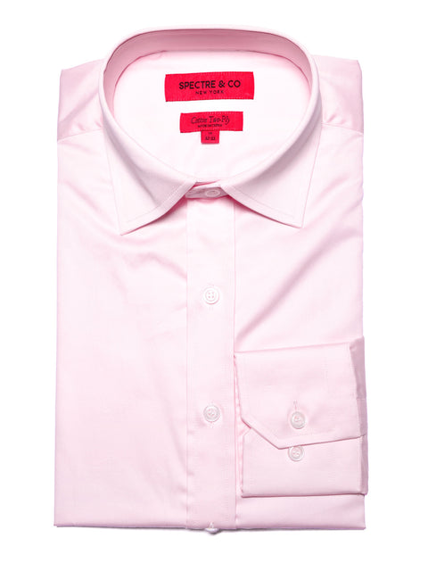 Slim Fit Pink Semi-spread Dress Shirt