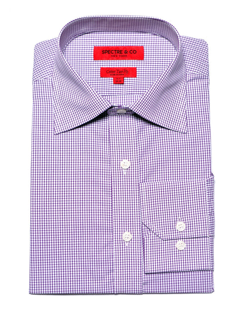Purple Minicheck Dress Shirt