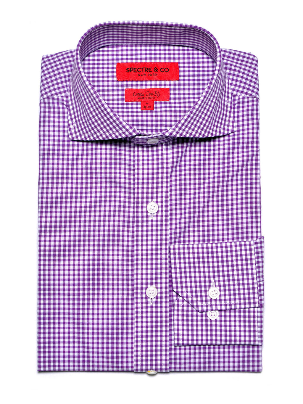 Purple Mini-Gingham Dress Shirt
