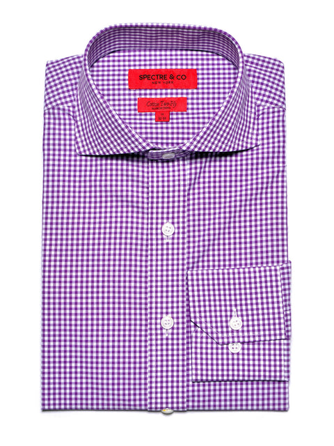Slim Fit Purple Mini-Gingham Dress Shirt