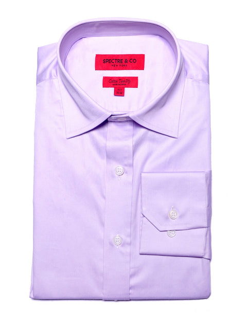 Slim Fit Purple Semi-spread Dress Shirt