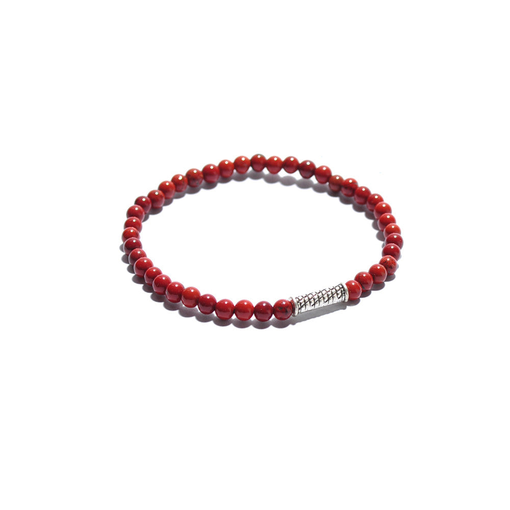 Red Agate Beaded Bracelet