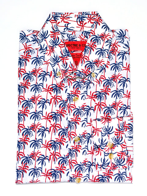 Blue and Red Palm Tree Print Casual Shirt