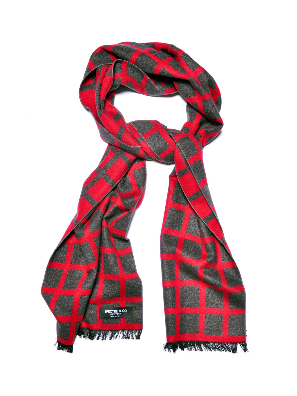 Red Check Brushed Silk Scarf