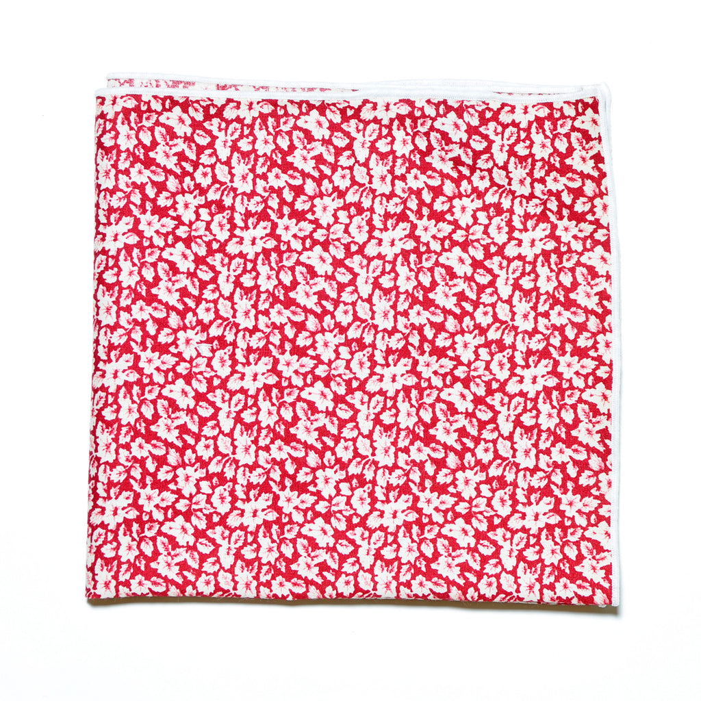 Red Floral Print Cotton Pocket Square