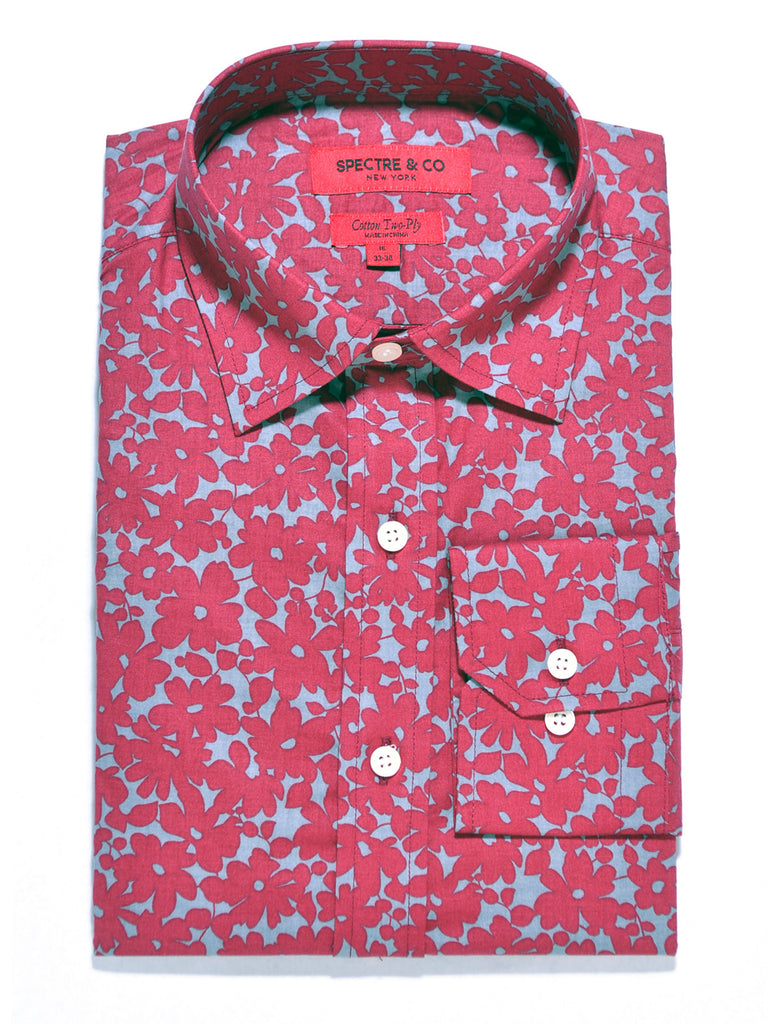 Slim Fit Grey and Red Floral Semi-Spread Dress Shirt