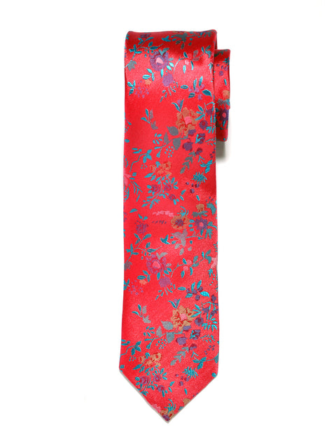 Red Large Floral Silk Tie