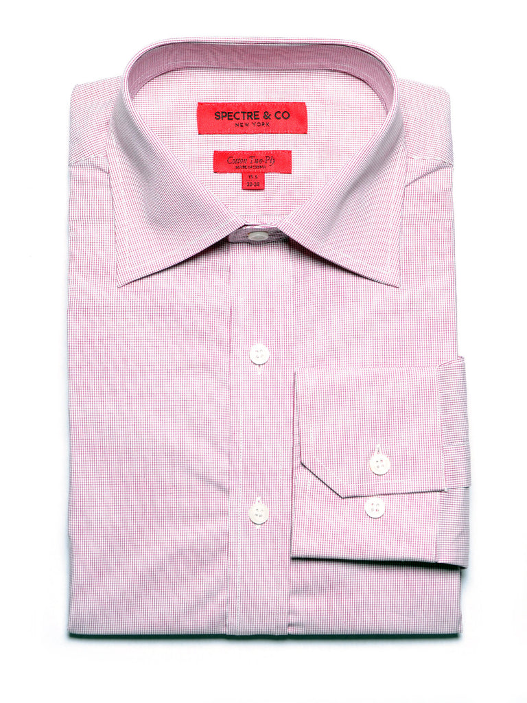 Red Microcheck Dress Shirt