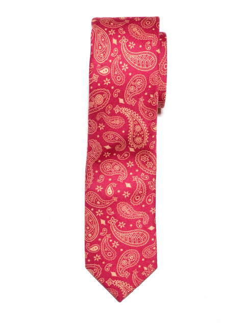 Red Paisley Print Cotton Tie