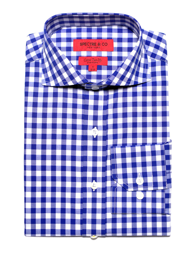 Slim Fit Royal Blue Gingham Dress Shirt