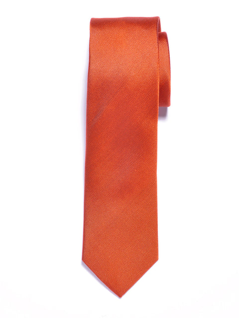 Solid Orange Silk Tie