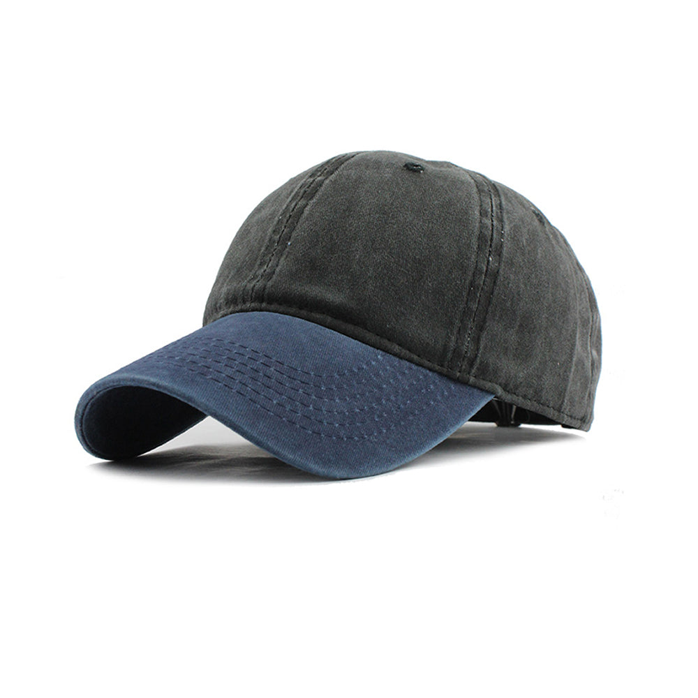Navy Blue and Dark Grey Washed Denim Baseball Cap