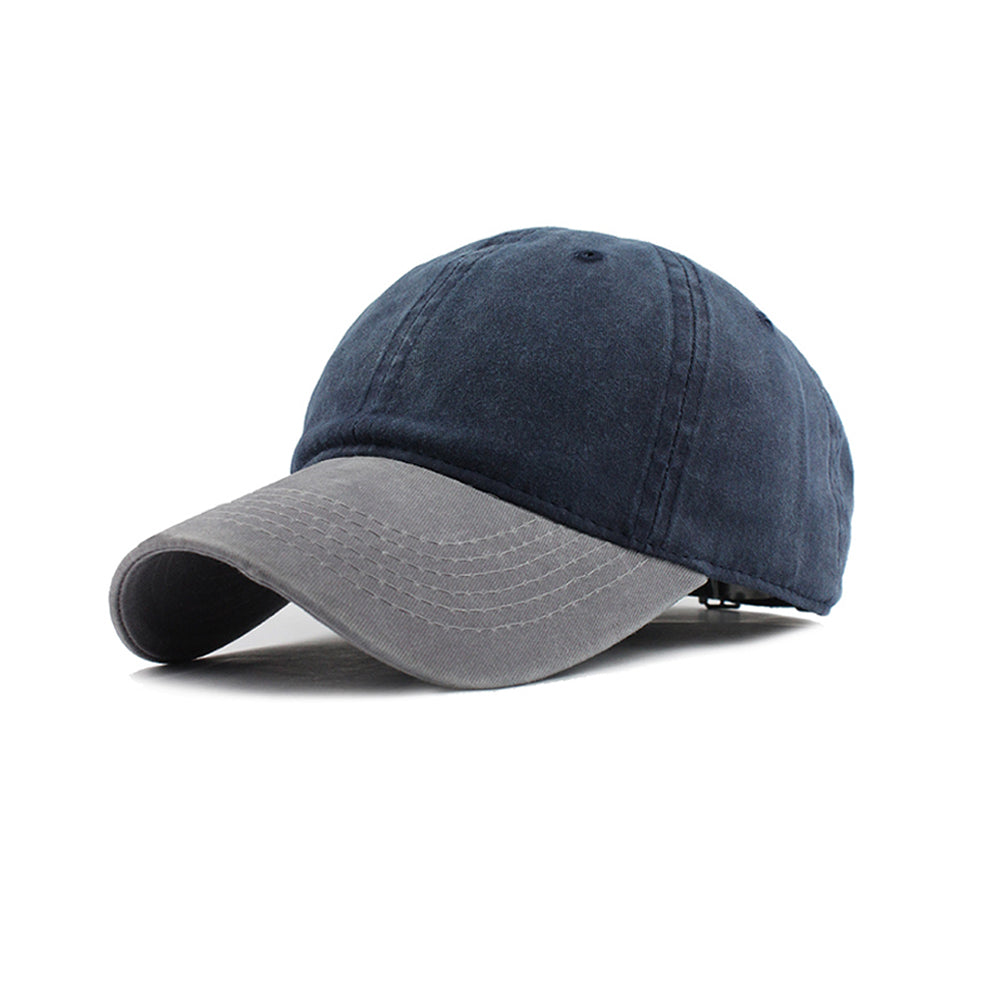 Navy Blue and Grey Washed Denim Baseball Cap