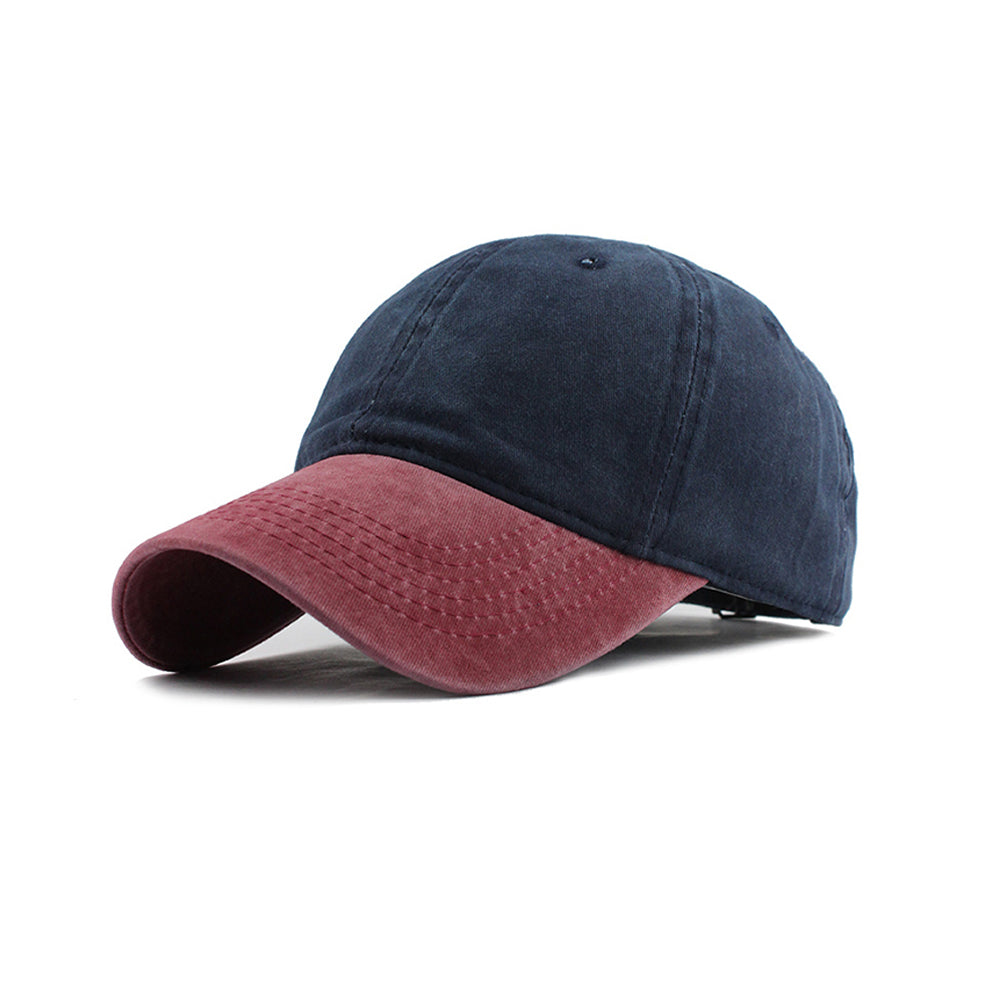 Navy Blue and Red Washed Denim Baseball Cap