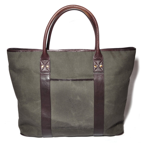 Brown Waxed Canvas Leather Tote Bag