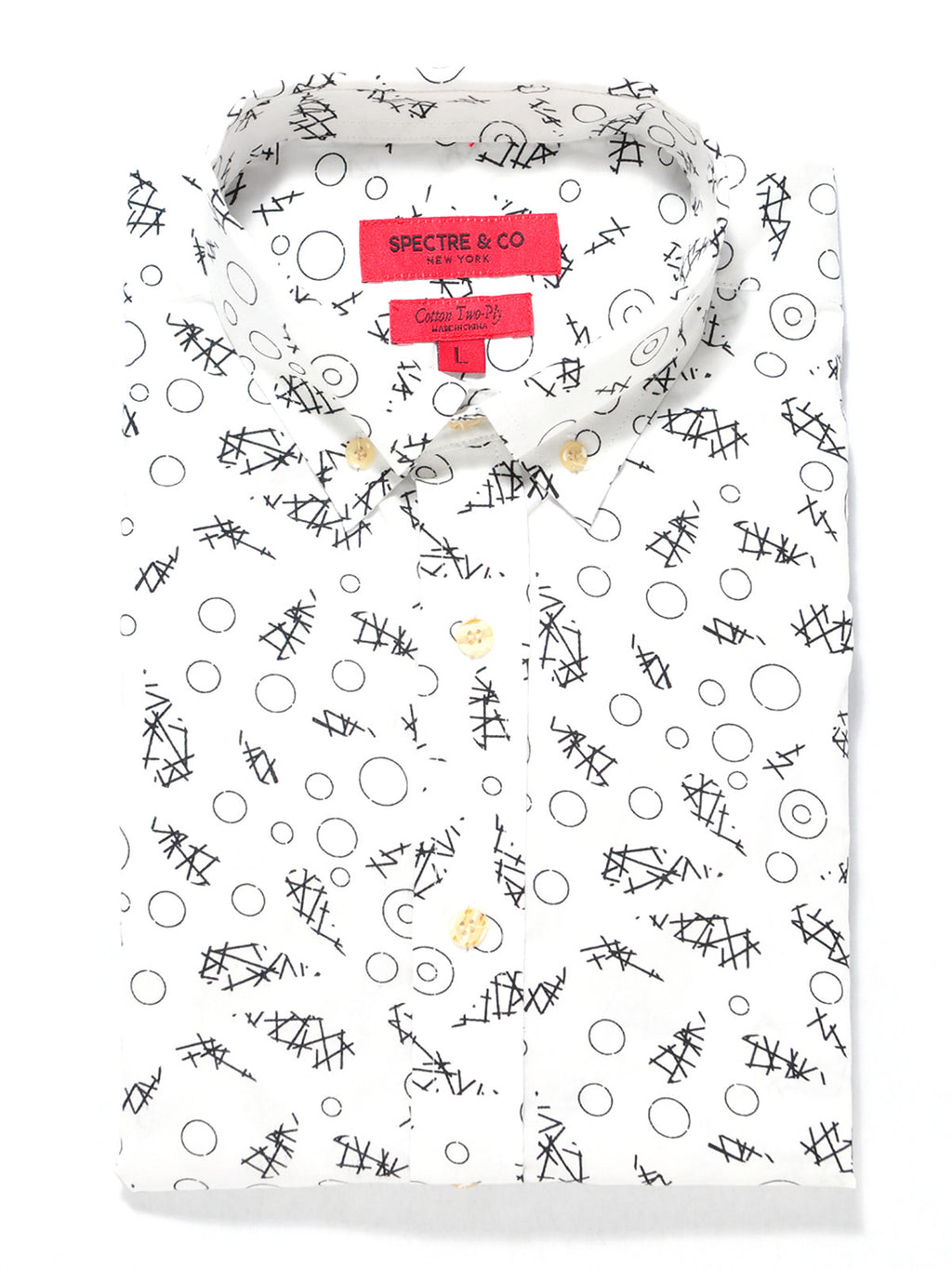 White Abstract Print Short Sleeve Shirt