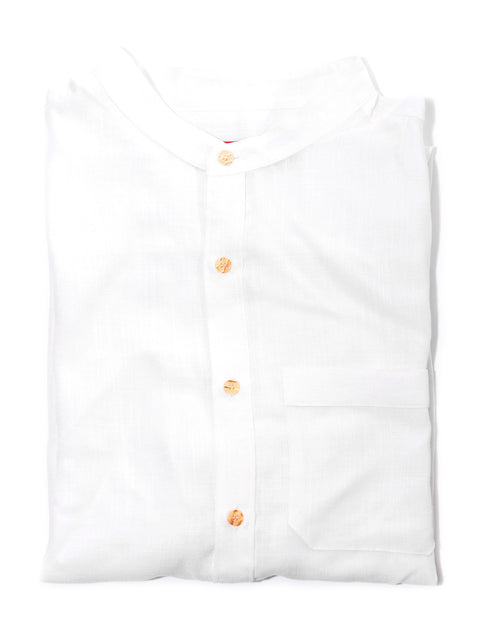 White Cotton/Linen Band Collar Shirt