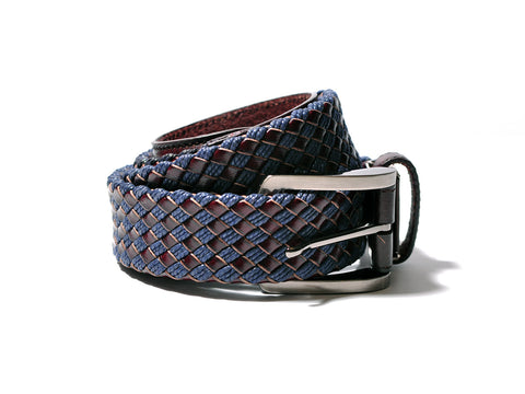 Woven Leather Belt (Blue/Dark Brown)