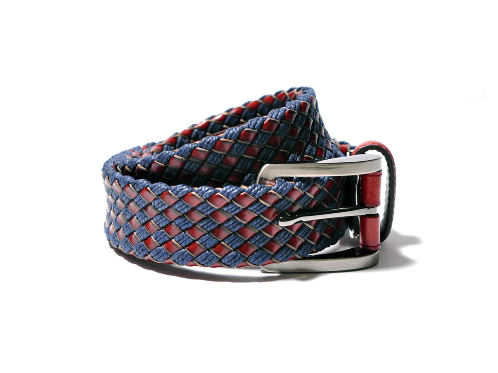 Woven Leather Belt (Blue/Light Brown)