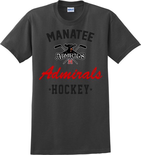Admirals Hockey Charcoal Gray T-shirt with Player Number