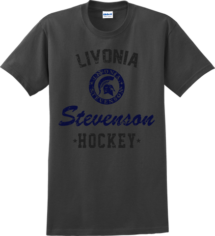 Livonia Stevenson Hockey Charcoal Gray T-shirt with Player Number