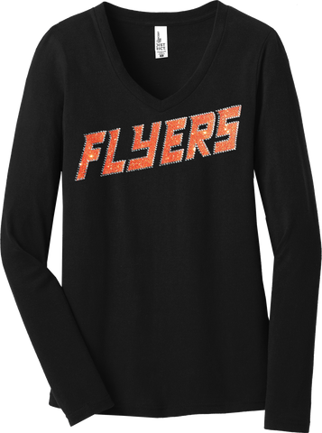 BLACK Custom Team Ladies Long Sleeve Glitter T-Shirt