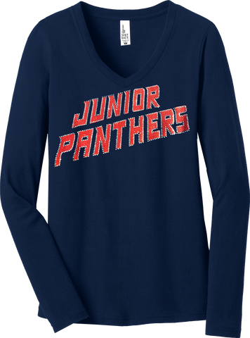 NAVY Custom Team Ladies Long Sleeve Glitter T-Shirt