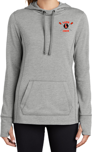 Lake Crew Embroidered Ladies PosiCharge Tri-Blend Wicking Fleece Hooded Pullover
