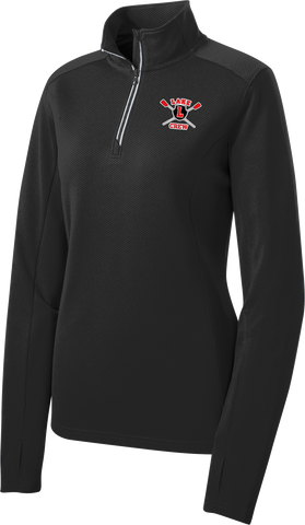 Lake Crew Embroidered Ladies Sport-Wick Textured 1/4-Zip Pullover