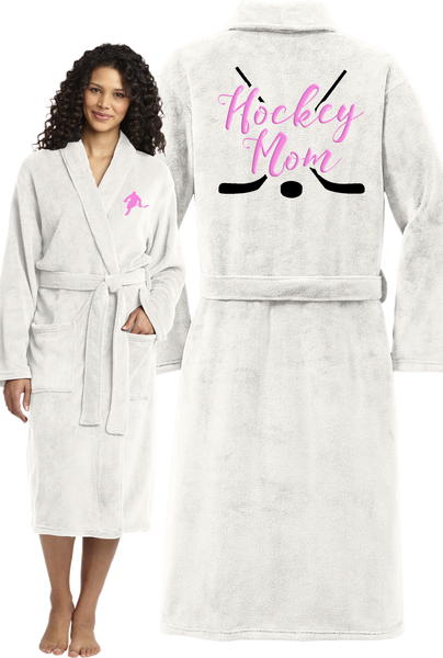 Hockey Mom Plush Microfleece Embroidered Robe