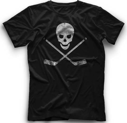 Skull and Cross Sticks T-Shirt  BLACK