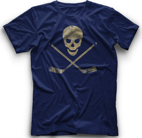 Skull and Cross Sticks T-Shirt   NAVY