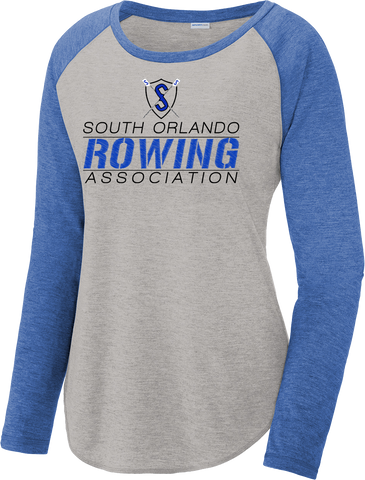 South Orlando Rowing Association Ladies Tri-Blend Wicking Scoop Neck Raglan Tee