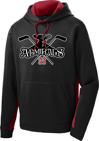 Admirals Hockey Twill Sport-Wick Fleece Colorblock Hoodie Includes Player #