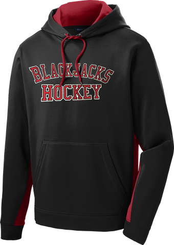 Blackjacks Hockey Twill Sport-Wick Fleece Colorblock Hoodie Includes Player #