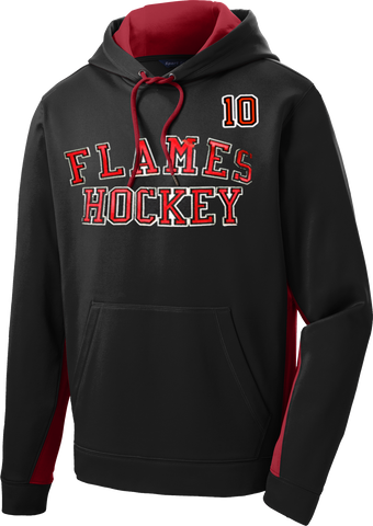 Gulf Coast Flames Twill Sport-Wick Fleece Colorblock Hoodie Includes Player #
