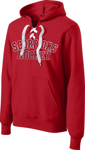 RED Custom Team Twill Block Lace-Up Hoodie