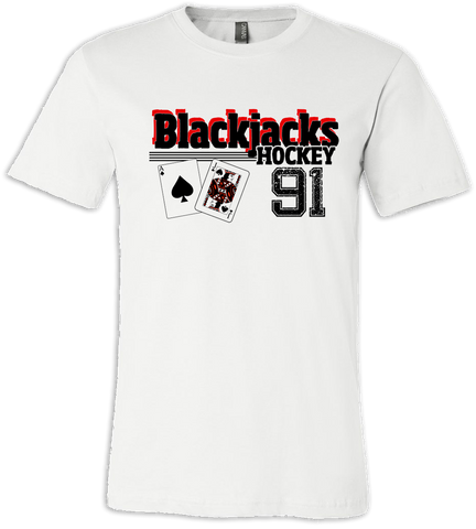 Blackjacks Hockey Old Time T-shirt with Player Number