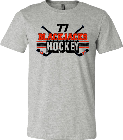 Blackjacks Hockey Cross Check T-shirt with Player Number