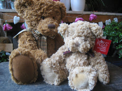 Large brown and small cream teddy bears