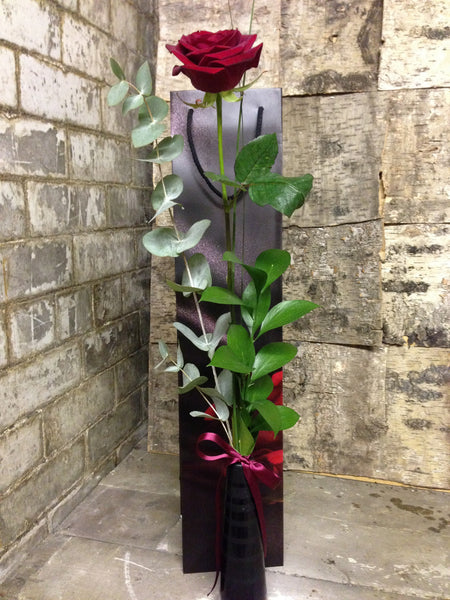 Single red grand prix rose with eucalyptus and ruscus with tall gift bag